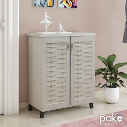 Παπουτσοθήκη-ντουλάπι MANTAM pakoworld 12 ζεύγων χρώμα λευκό-γκρι 78x40x92εκ
