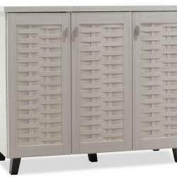 Παπουτσοθήκη-ντουλάπι MANTAM pakoworld 16 ζεύγων χρώμα λευκό-γκρι 115,5x40x92εκ