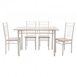 Τραπεζαρία Roza pakoworld σετ 5τμχ χρώμα light grey- πόδια λευκό gloss 120x70x75εκ