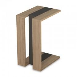 Βοηθητικό τραπέζι Muju pakoworld σε χρώμα φυσικό – ανθρακί 40x30x57εκ