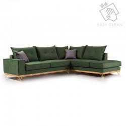 Γωνιακός καναπές αριστερή γωνία Luxury II pakoworld ύφασμα κυπαρισσί-ανθρακί 290x235x95εκ