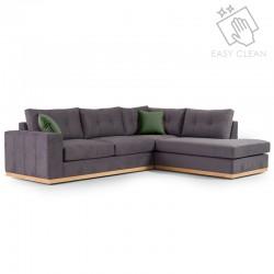 Γωνιακός καναπές αριστερή γωνία Boston pakoworld ύφασμα ανθρακί-κυπαρισσί 280x225x90εκ