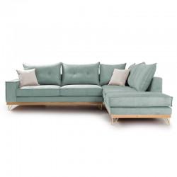 Γωνιακός καναπές αριστερή γωνία Luxury II pakoworld ύφασμα ciel-cream 290x235x95εκ