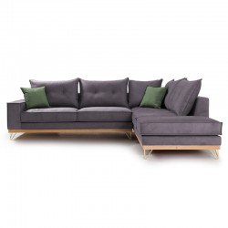 Γωνιακός καναπές αριστερή γωνία Luxury II pakoworld ύφασμα ανθρακί-κυπαρισσί 290x235x95εκ