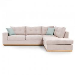 Γωνιακός καναπές αριστερή γωνία Boston pakoworld ύφασμα elephant-ciel 280x225x90εκ